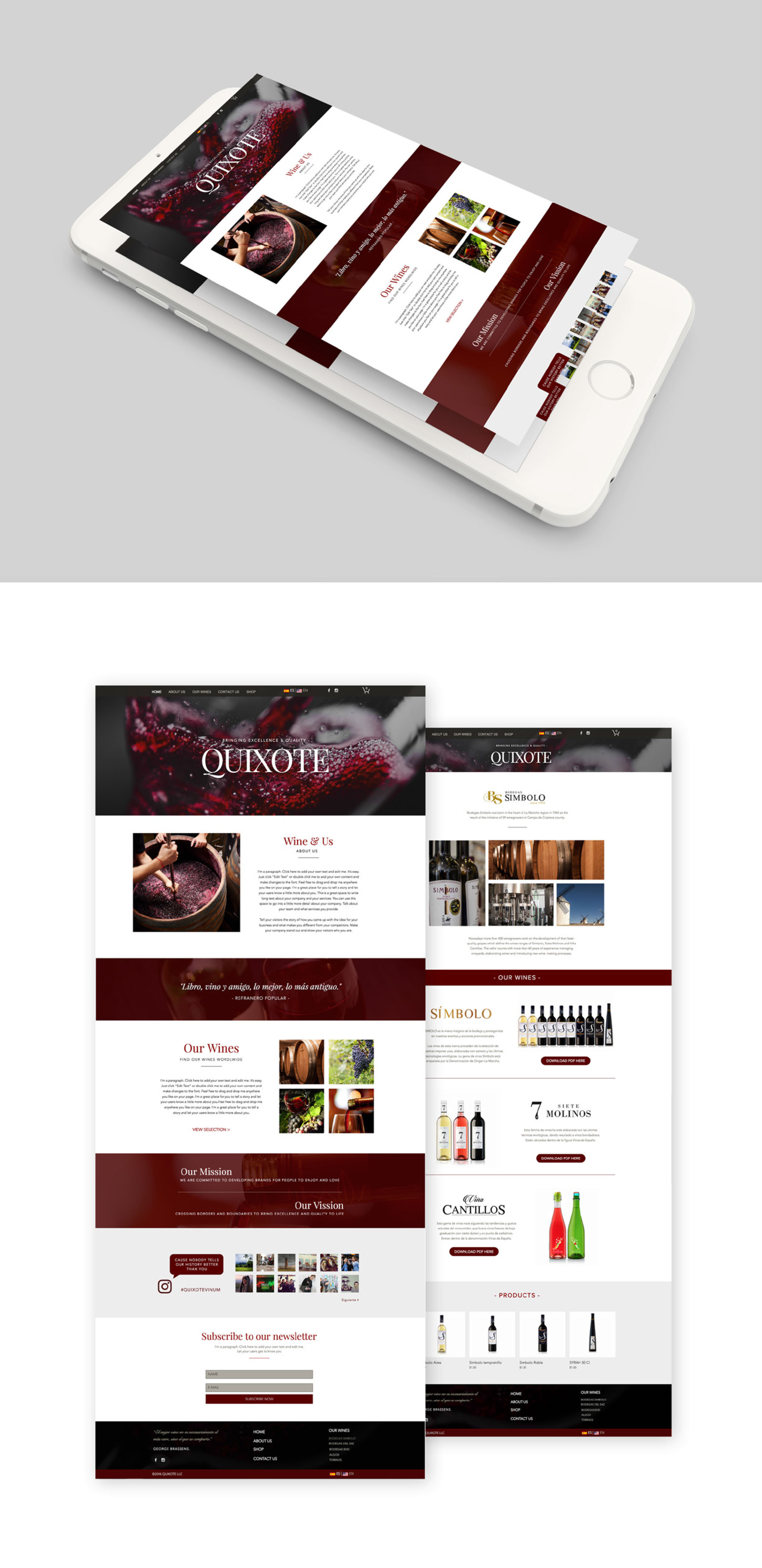 Quixote Vinum Website design