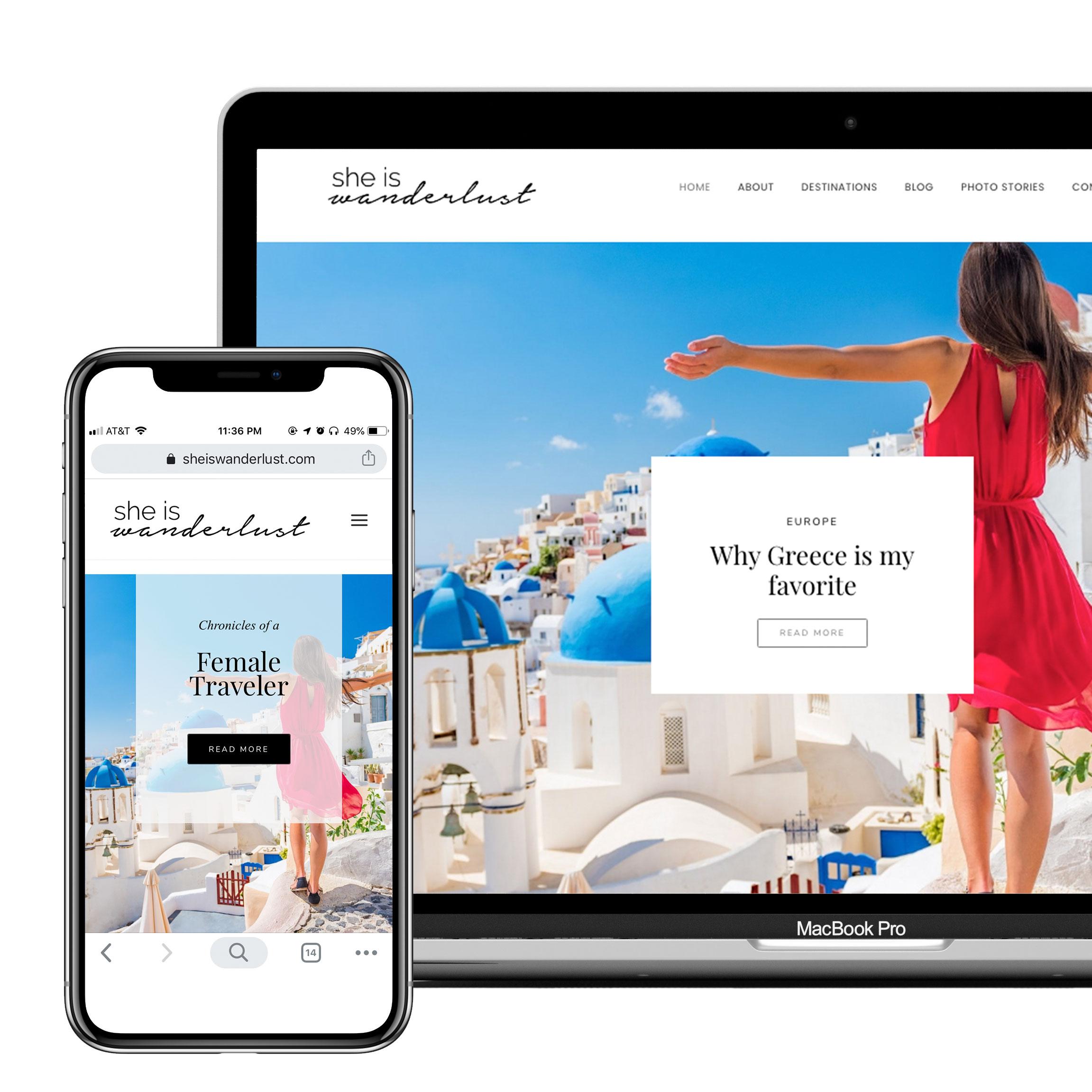 She is wanderlust website design